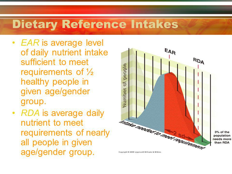 Dietary Reference Intakes EAR is average level of daily nutrient intake sufficient to meet requirements of ½ healthy people in given age/gender group.