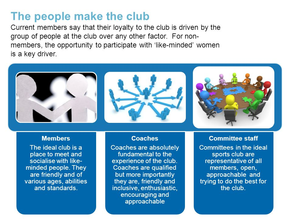 Members The ideal club is a place to meet and socialise with like- minded people.