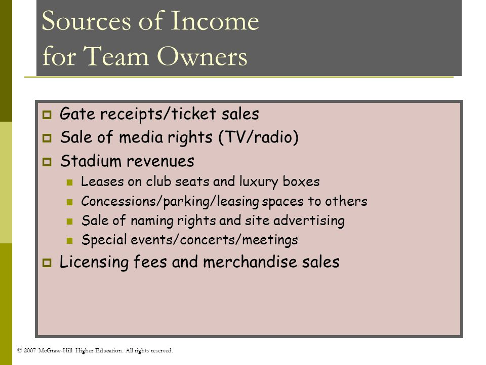 © 2007 McGraw-Hill Higher Education. All rights reserved. Sources of Income for Team Owners Gate receipts/ticket sales Sale of media rights (TV/radio)