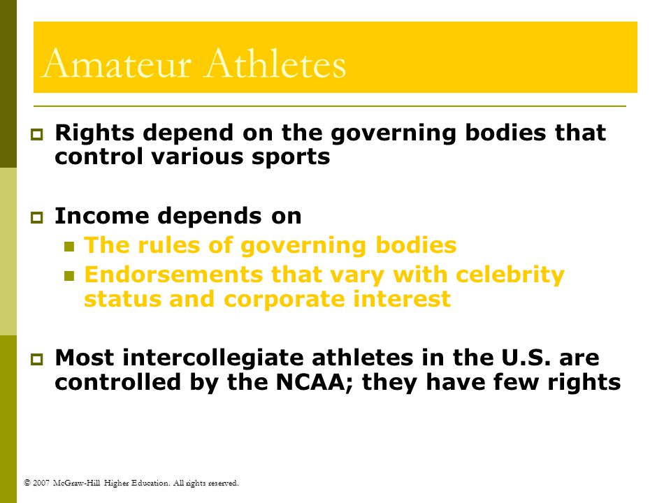 © 2007 McGraw-Hill Higher Education. All rights reserved. Amateur Athletes Rights depend on the governing bodies that control various sports Income de