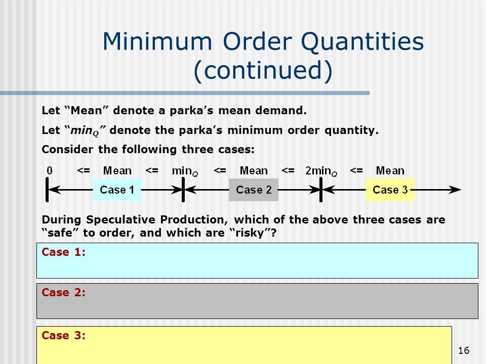16 Minimum Order Quantities (continued) Let Mean denote a parkas mean demand.