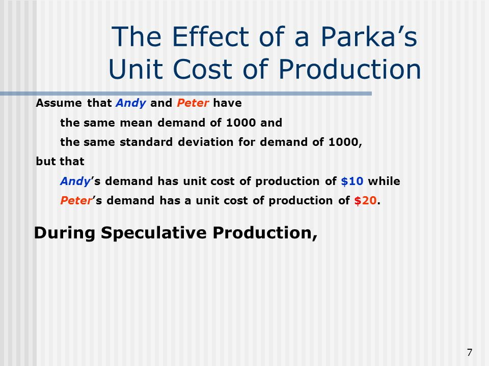 7 The Effect of a Parkas Unit Cost of Production Assume that Andy and Peter have the same mean demand of 1000 and the same standard deviation for demand of 1000, but that Andys demand has unit cost of production of $10 while Peters demand has a unit cost of production of $20.