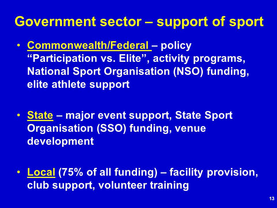 13 Government sector – support of sport Commonwealth/Federal – policy Participation vs.