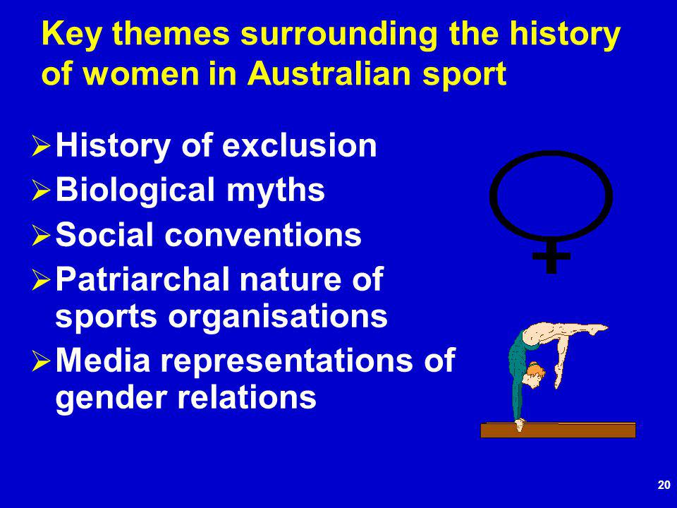 20 Key themes surrounding the history of women in Australian sport History of exclusion Biological myths Social conventions Patriarchal nature of sports organisations Media representations of gender relations
