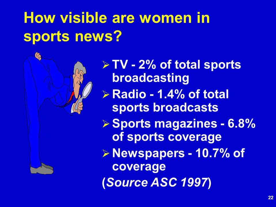 22 How visible are women in sports news.