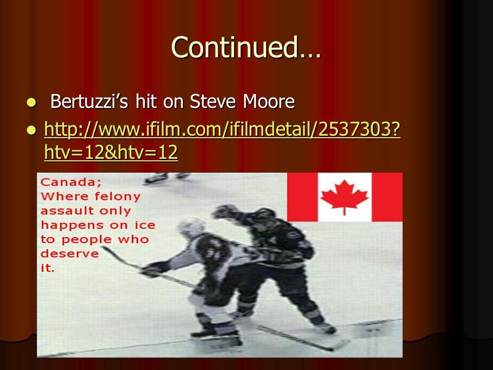 Continued… Bertuzzis hit on Steve Moore Bertuzzis hit on Steve Moore http://www.ifilm.com/ifilmdetail/2537303? htv=12&htv=12 http://www.ifilm.com/ifil