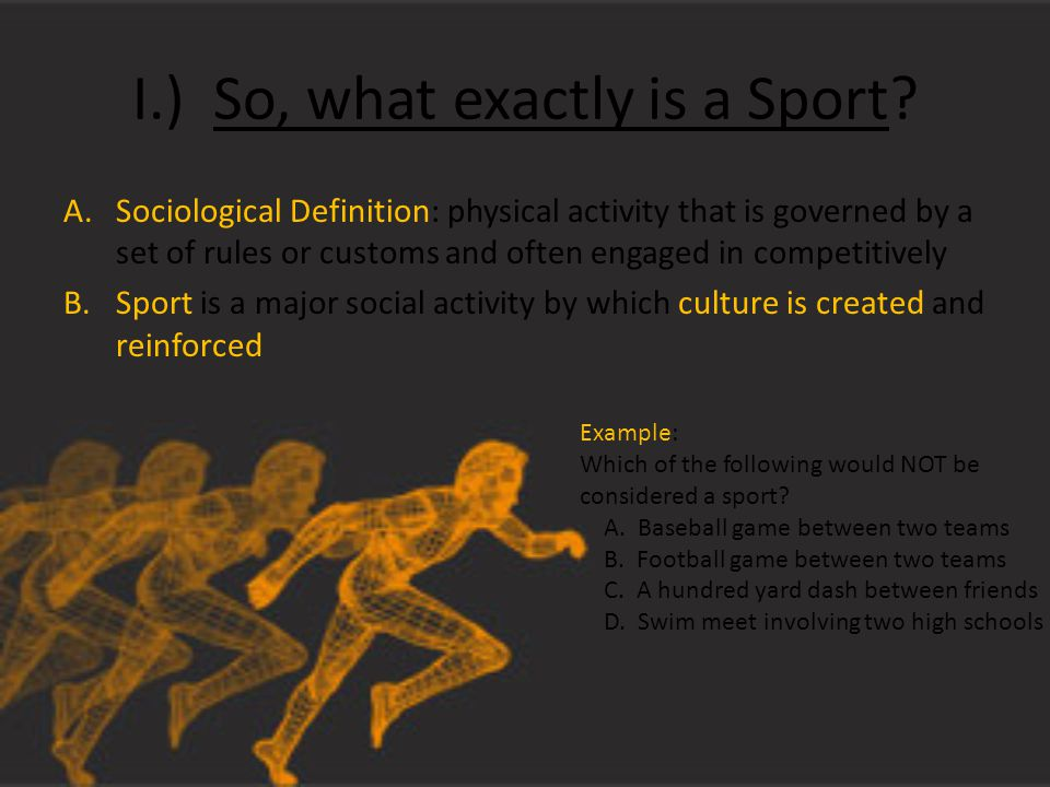 I.) So, what exactly is a Sport.