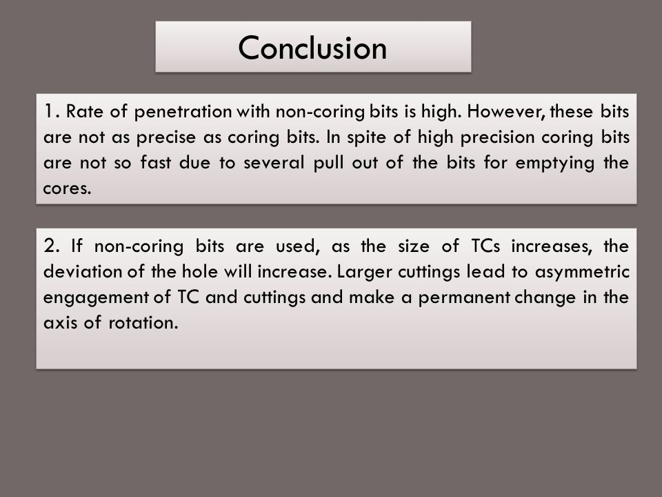 Conclusion 1.Rate of penetration with non-coring bits is high.