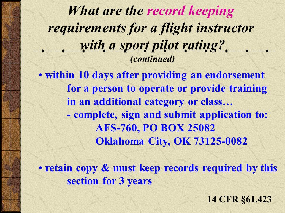 What are the record keeping requirements for a flight instructor with a sport pilot rating.