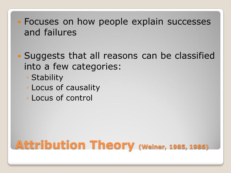 Attribution Theory (Weiner, 1985, 1986) Focuses on how people explain successes and failures Suggests that all reasons can be classified into a few ca