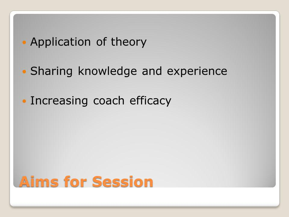 Aims for Session Application of theory Sharing knowledge and experience Increasing coach efficacy