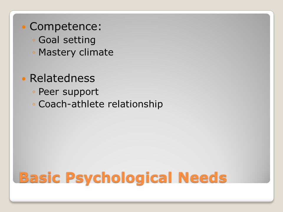 Basic Psychological Needs Competence: Goal setting Mastery climate Relatedness Peer support Coach-athlete relationship