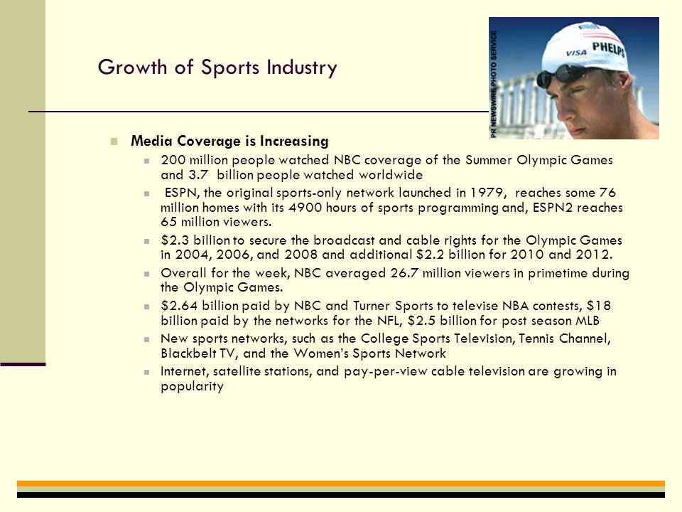 Growth of Sports Industry Sporting Good Industry Sports Equipment ($17.5 billion) Sports Apparel ($22.3 billion) Footwear ($9.3 billion) Sports Information 3.2 million circulation of Sports Illustrated 34% use Internet for sports Information ESPN.com reaches 15 million unique users