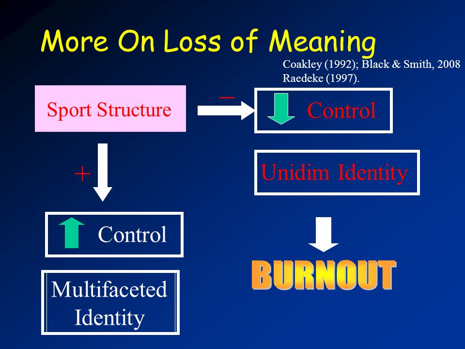 More On Loss of Meaning Coakley (1992); Black & Smith, 2008 Raedeke (1997).