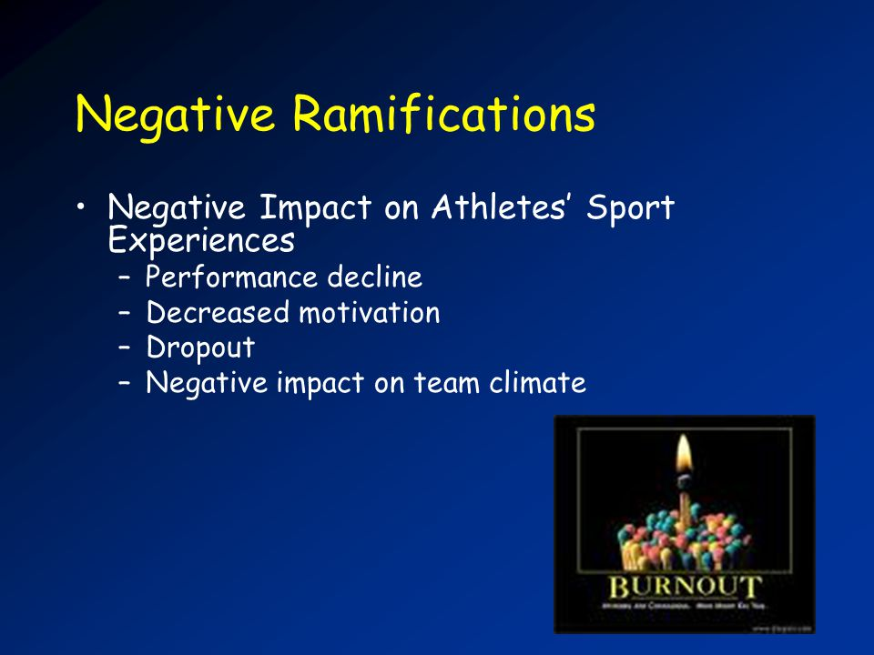 Negative Ramifications Negative Impact on Athletes Sport Experiences –Performance decline –Decreased motivation –Dropout –Negative impact on team climate