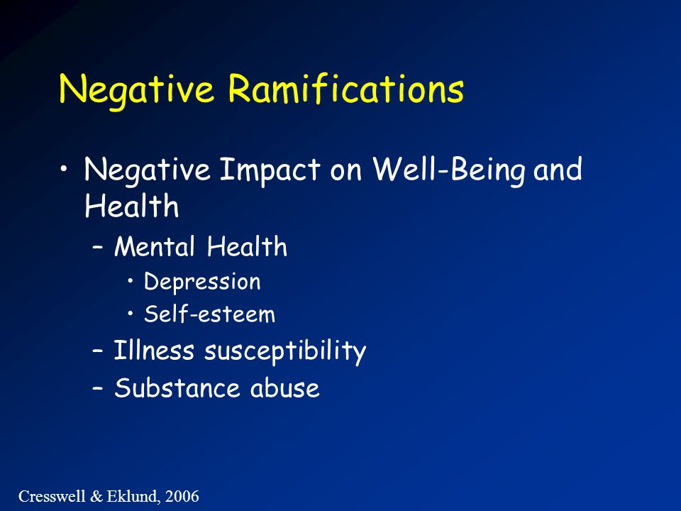 Negative Ramifications Negative Impact on Well-Being and Health –Mental Health Depression Self-esteem –Illness susceptibility –Substance abuse Cresswell & Eklund, 2006