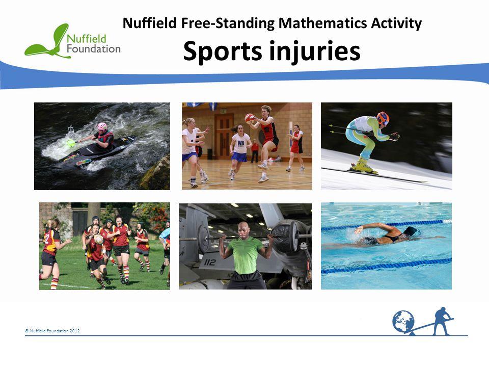 © Nuffield Foundation 2012 Nuffield Free-Standing Mathematics Activity Sports injuries © Rudolf Stricker