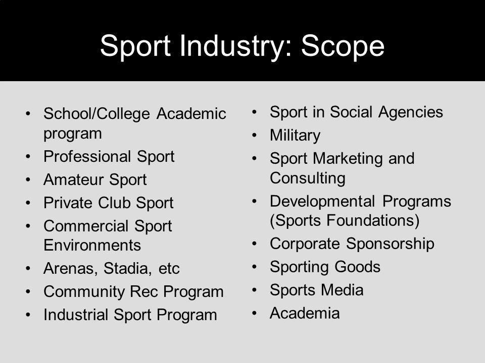 Sport Industry: Scope School/College Academic program Professional Sport Amateur Sport Private Club Sport Commercial Sport Environments Arenas, Stadia