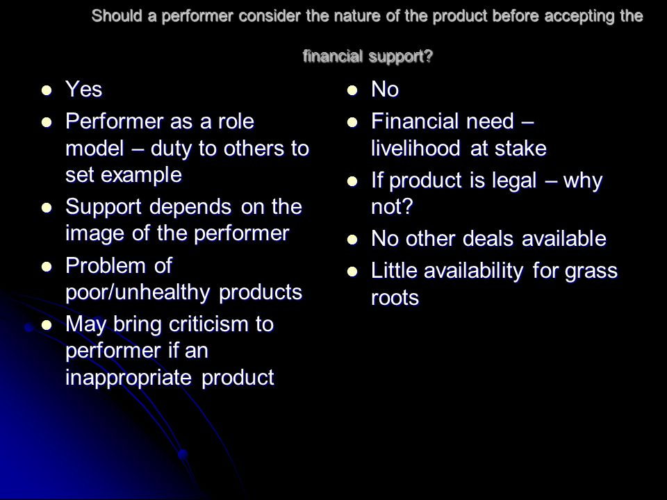 Should a performer consider the nature of the product before accepting the financial support? Yes Yes Performer as a role model – duty to others to se