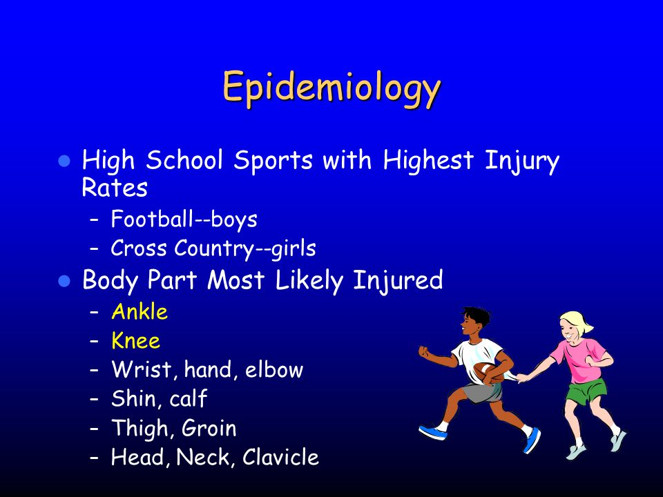 Epidemiology Catastrophic Injuries – Most common non-traumatic death in sports is cardiovascular (e.g.