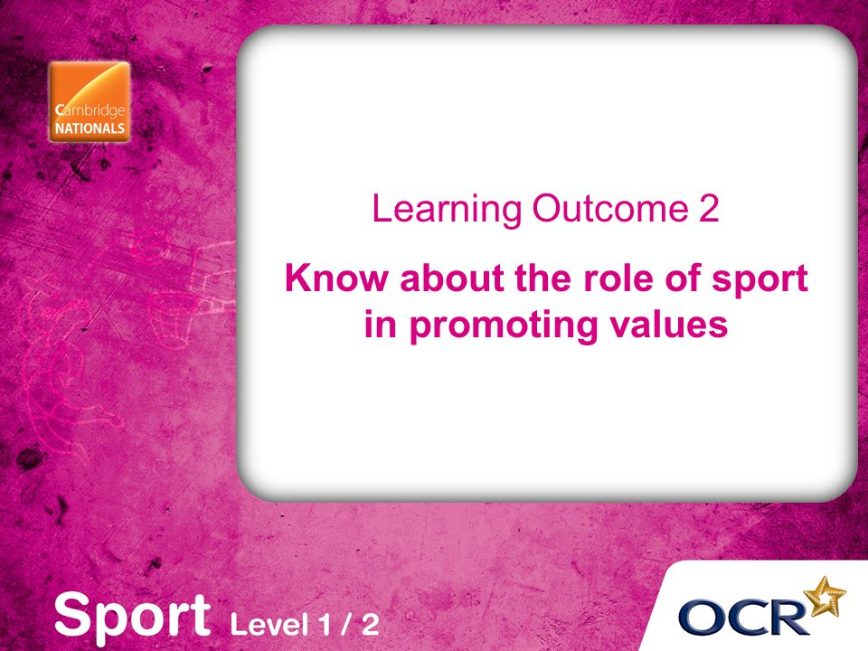 Learning Outcome 2 Know about the role of sport in promoting values