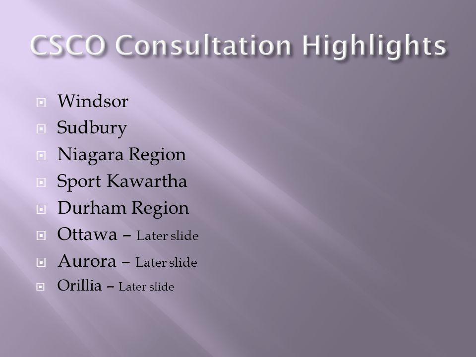 Windsor Sudbury Niagara Region Sport Kawartha Durham Region Ottawa – Later slide Aurora – Later slide Orillia – Later slide