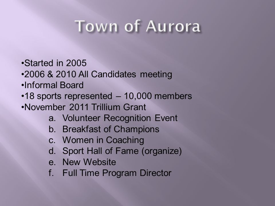 Started in 2005 2006 & 2010 All Candidates meeting Informal Board 18 sports represented – 10,000 members November 2011 Trillium Grant a.Volunteer Recognition Event b.Breakfast of Champions c.Women in Coaching d.Sport Hall of Fame (organize) e.New Website f.Full Time Program Director
