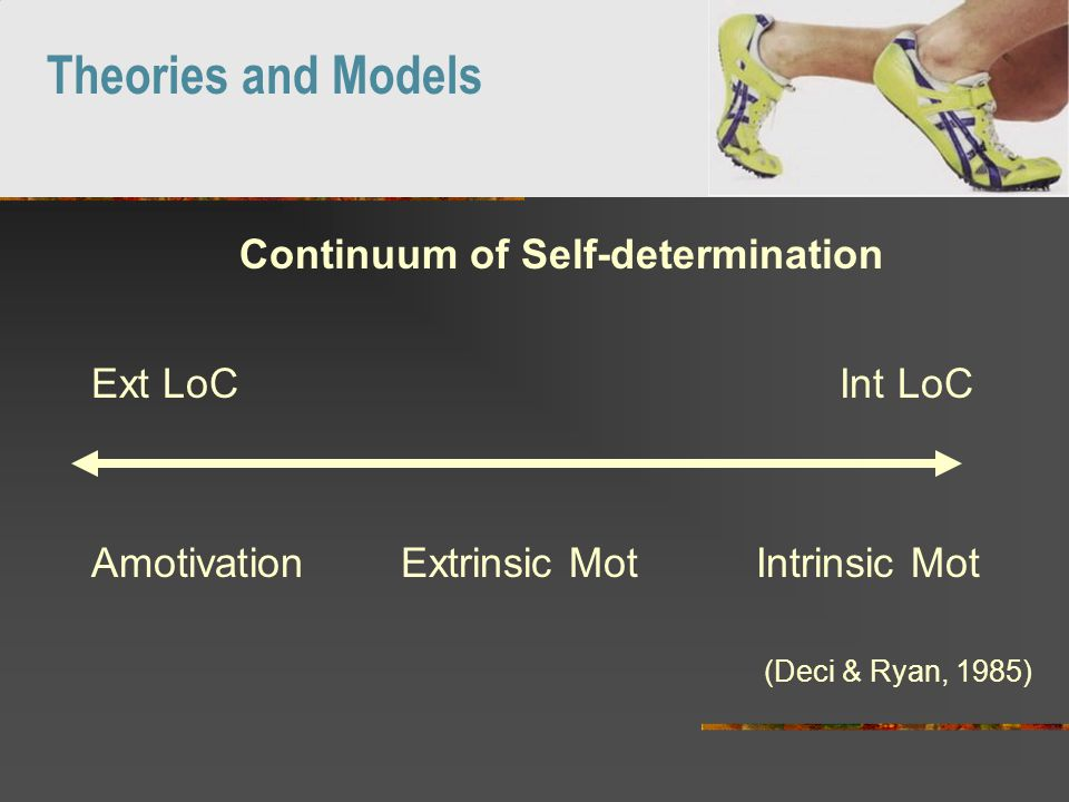 Continuum of Self-determination Ext LoC Int LoC Amotivation Extrinsic Mot Intrinsic Mot (Deci & Ryan, 1985) Theories and Models
