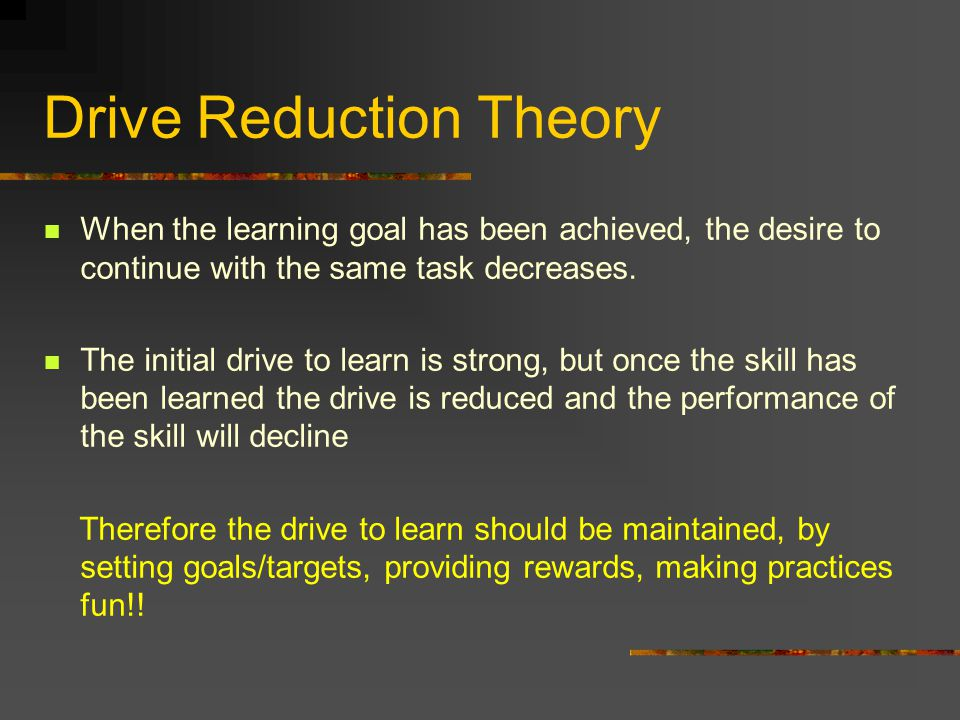 When the learning goal has been achieved, the desire to continue with the same task decreases.