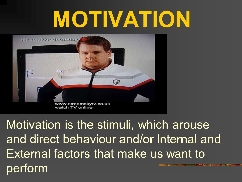 MOTIVATION Motivation is the stimuli, which arouse and direct behaviour and/or Internal and External factors that make us want to perform