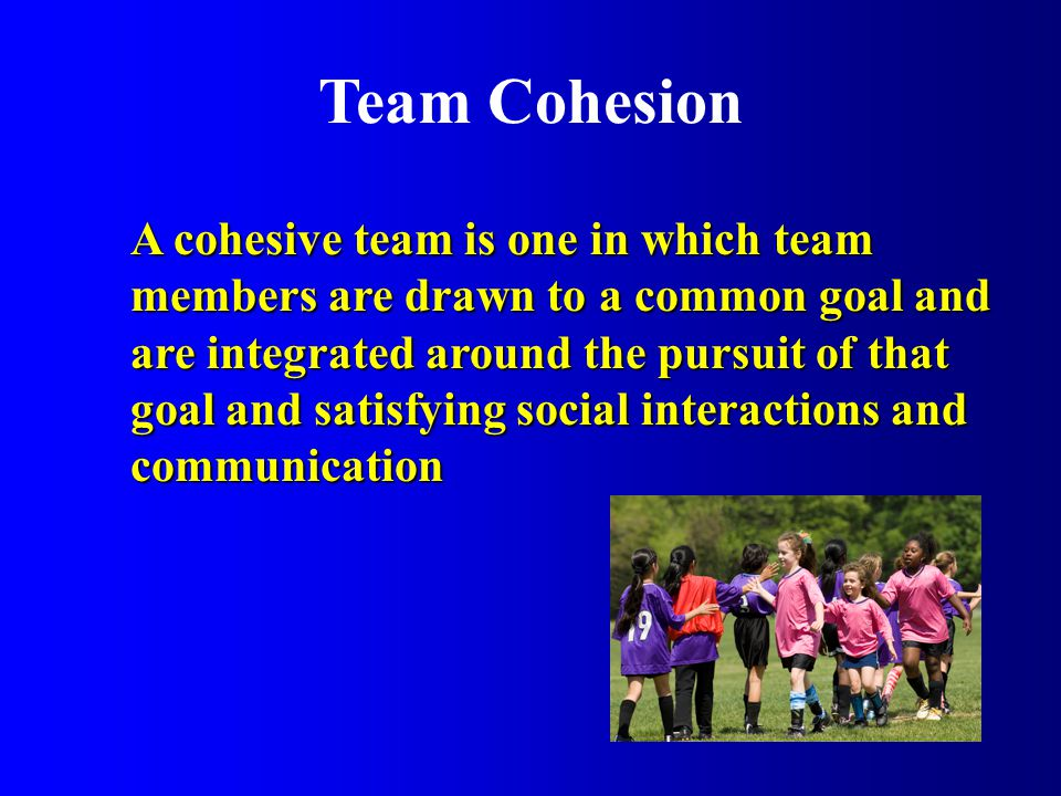 Team Cohesion A cohesive team is one in which team members are drawn to a common goal and are integrated around the pursuit of that goal and satisfying social interactions and communication