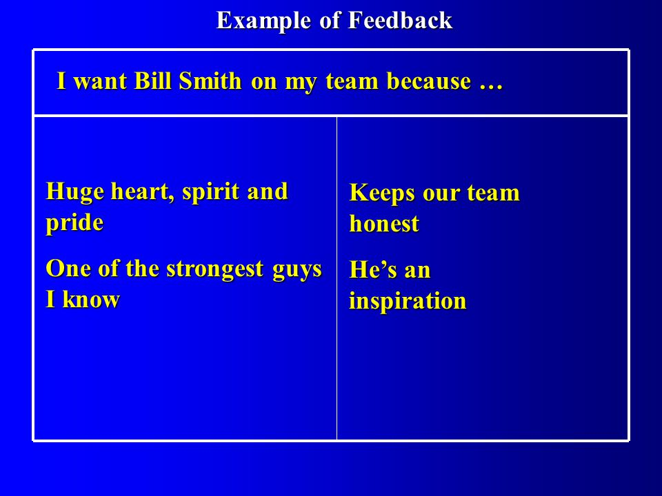 I want Bill Smith on my team because … Huge heart, spirit and pride One of the strongest guys I know Keeps our team honest Hes an inspiration Example of Feedback