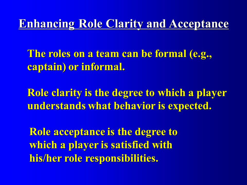 Enhancing Role Clarity and Acceptance Role clarity is the degree to which a player understands what behavior is expected.