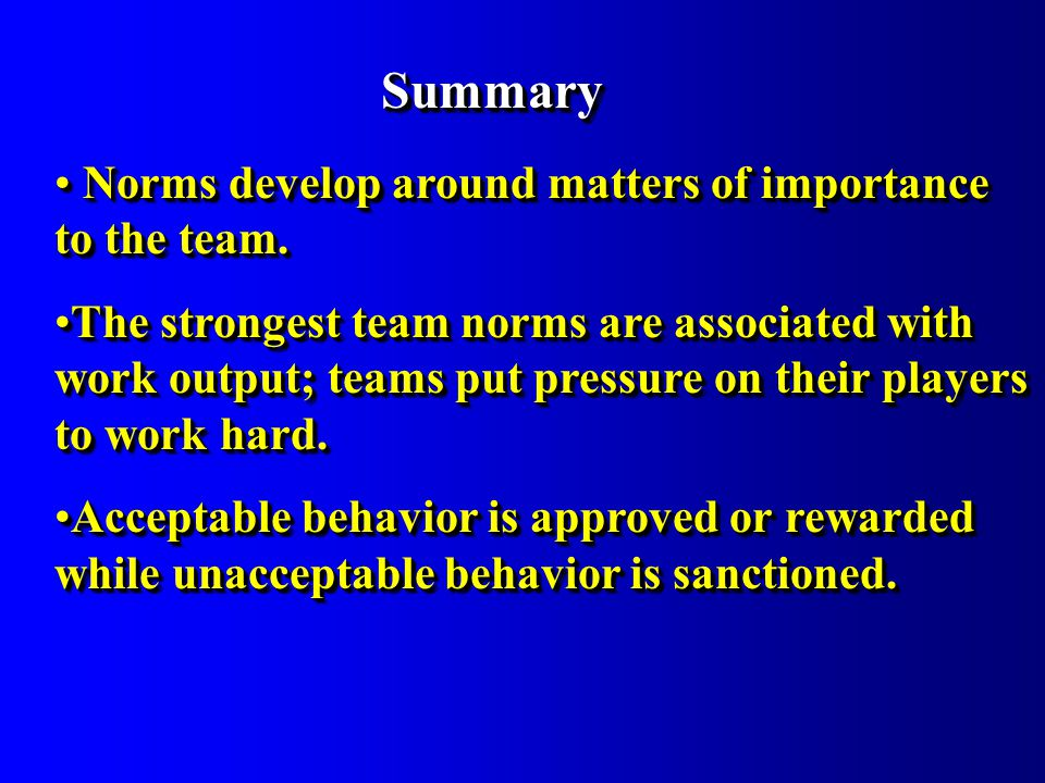 SummarySummary Norms develop around matters of importance to the team.