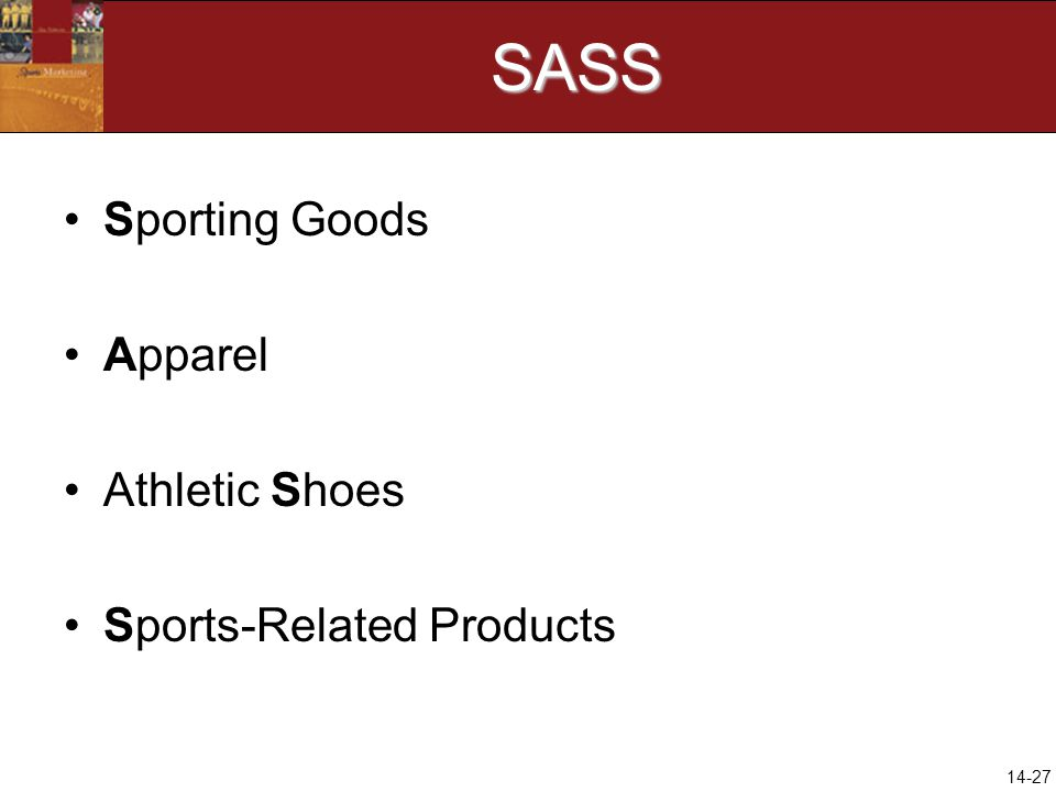 14-27SASS Sporting Goods Apparel Athletic Shoes Sports-Related Products
