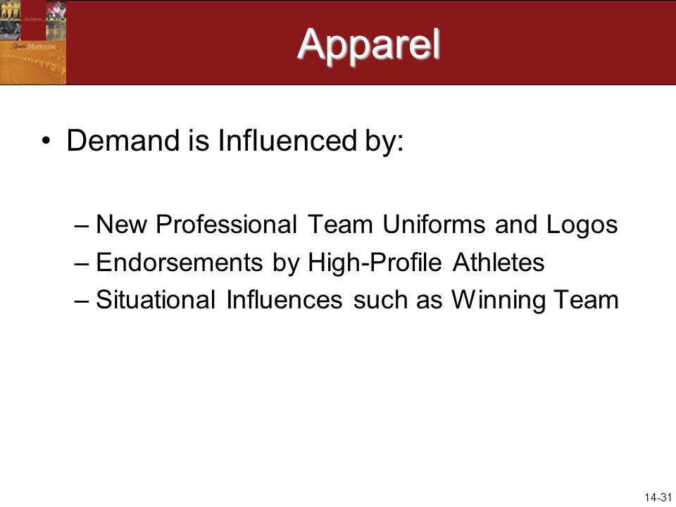 14-31Apparel Demand is Influenced by: –New Professional Team Uniforms and Logos –Endorsements by High-Profile Athletes –Situational Influences such as