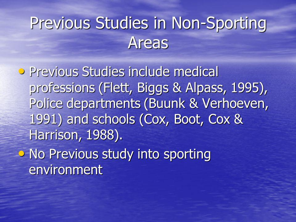 Previous Studies in Non-Sporting Areas Previous Studies include medical professions (Flett, Biggs & Alpass, 1995), Police departments (Buunk & Verhoev