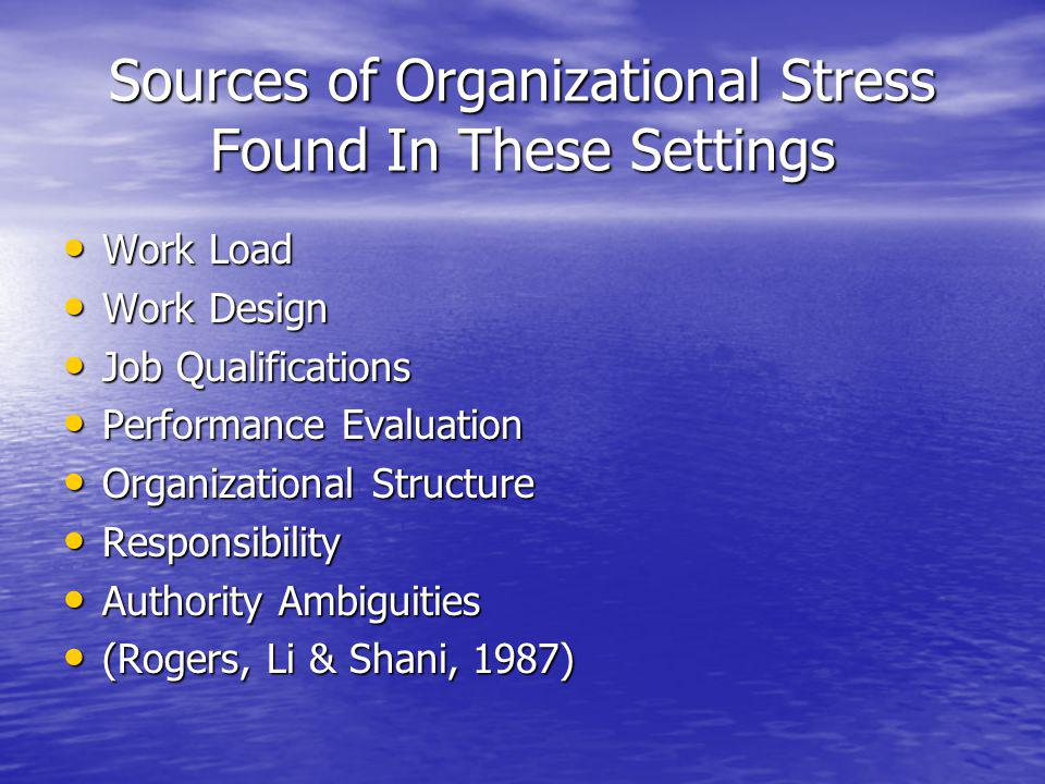 Sources of Organizational Stress Found In These Settings Work Load Work Load Work Design Work Design Job Qualifications Job Qualifications Performance Evaluation Performance Evaluation Organizational Structure Organizational Structure Responsibility Responsibility Authority Ambiguities Authority Ambiguities (Rogers, Li & Shani, 1987) (Rogers, Li & Shani, 1987)