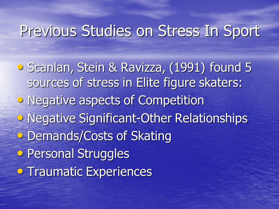 Previous Studies on Stress In Sport Scanlan, Stein & Ravizza, (1991) found 5 sources of stress in Elite figure skaters: Scanlan, Stein & Ravizza, (1991) found 5 sources of stress in Elite figure skaters: Negative aspects of Competition Negative aspects of Competition Negative Significant-Other Relationships Negative Significant-Other Relationships Demands/Costs of Skating Demands/Costs of Skating Personal Struggles Personal Struggles Traumatic Experiences Traumatic Experiences