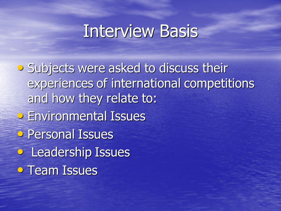 Interview Basis Subjects were asked to discuss their experiences of international competitions and how they relate to: Subjects were asked to discuss their experiences of international competitions and how they relate to: Environmental Issues Environmental Issues Personal Issues Personal Issues Leadership Issues Leadership Issues Team Issues Team Issues