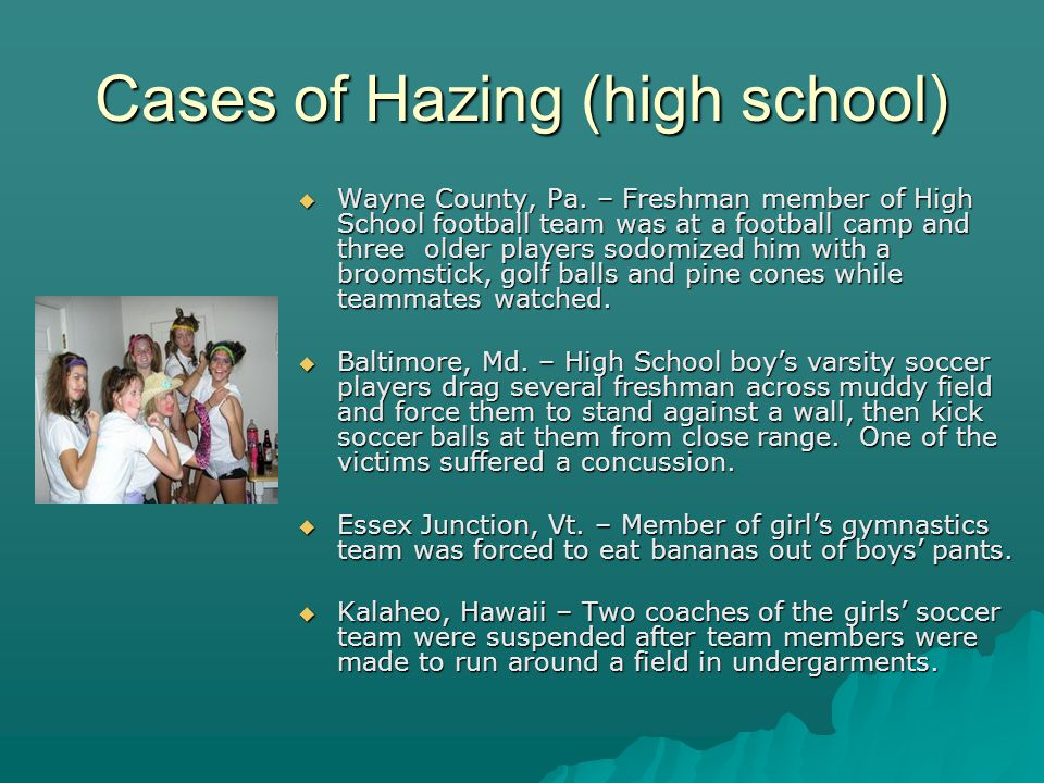 Cases of Hazing (high school) Wayne County, Pa.
