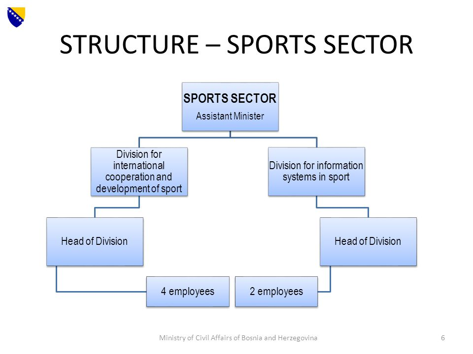 STRUCTURE – SPORTS SECTOR SPORTS SECTOR Assistant Minister Division for international cooperation and development of sport Head of Division 4 employees Division for information systems in sport Head of Division 2 employees Ministry of Civil Affairs of Bosnia and Herzegovina6