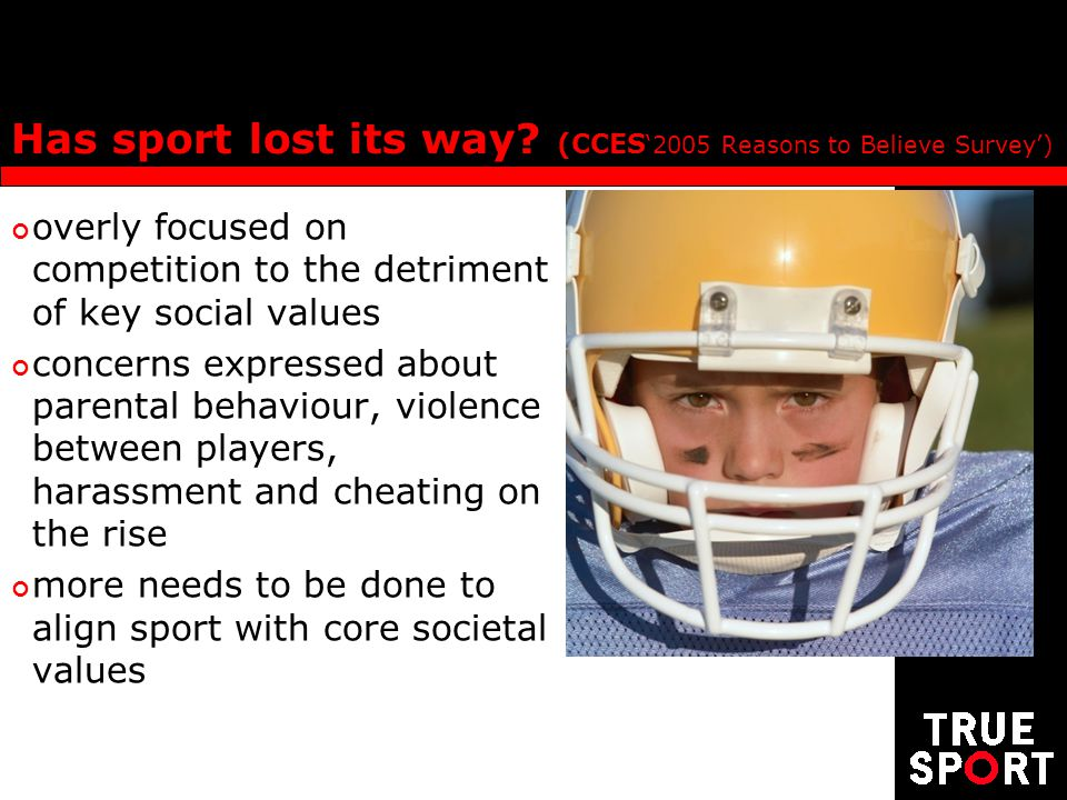 Has sport lost its way? (CCES 2005 Reasons to Believe Survey) overly focused on competition to the detriment of key social values concerns expressed a