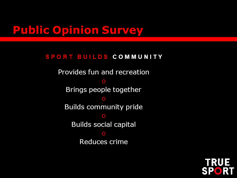 S P O R T B U I L D S C O M M U N I T Y Provides fun and recreation o Brings people together o Builds community pride o Builds social capital o Reduces crime Public Opinion Survey