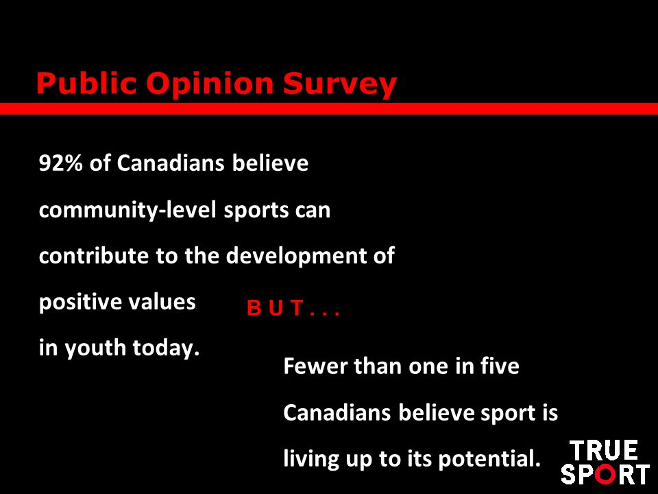 92% of Canadians believe community-level sports can contribute to the development of positive values in youth today.