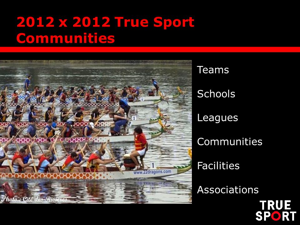2012 x 2012 True Sport Communities Teams Schools Leagues Communities Facilities Associations