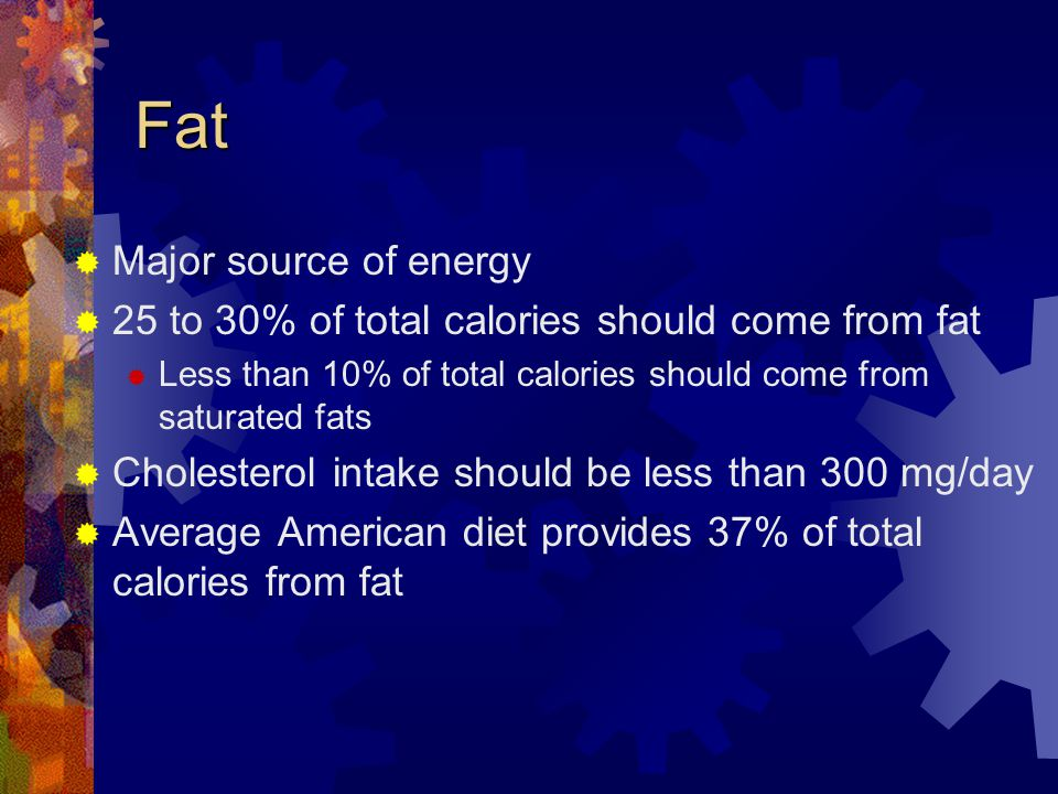Fat Major source of energy 25 to 30% of total calories should come from fat Less than 10% of total calories should come from saturated fats Cholesterol intake should be less than 300 mg/day Average American diet provides 37% of total calories from fat