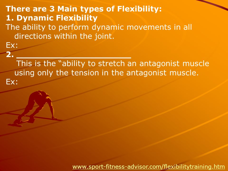 There are 3 Main types of Flexibility: 1.