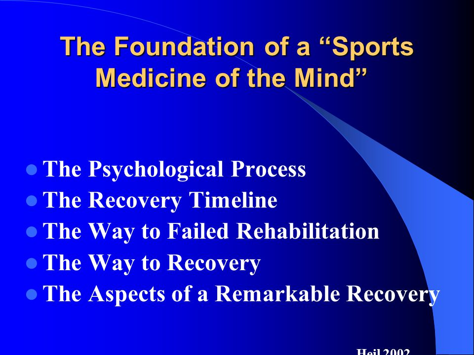 The Foundation of a Sports Medicine of the Mind The Psychological Process The Recovery Timeline The Way to Failed Rehabilitation The Way to Recovery The Aspects of a Remarkable Recovery Heil 2002