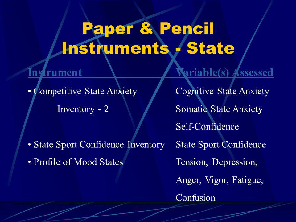 Paper & Pencil Instruments - Trait InstrumentVariable(s) Assessed Sport Orientation QuestionnaireCompetitiveness Win Orientation Goal Orientation Sport Competition QuestionnaireCompetitive Trait Anxiety Trait Sport Confidence InventoryTrait Sport Confidence Test of Attentional & InterpersonalAttentional Focus (6 Stylesubscales)